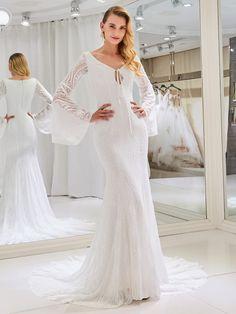 V-Neck Mermaid Lace Wedding Dress with Long Sleeve