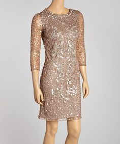 Another great find on #zulily! Nude Sequin Art Deco Dress by Marina Clothing #zulilyfinds