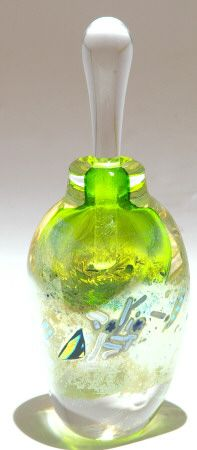 Look at the lively green! And I love the color rods in the bottom half of this distinctive Glass Perfume Bottle.