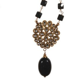 """18K, Diamond Medallion on Black Onyx Squares on gold filled chain.  Necklace length 17 1/2""""  inches. Pendent length 3"""" inch. Pendent width 1 1/2"""" inch. Lobster clasp. Made in USA.  www.thesagelifestyle.com"""