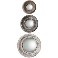 Gannon French Country Round Antique Rustic Mirror - Set of 3 ($273) ❤ liked on Polyvore featuring home, home decor, mirrors and convex mirror