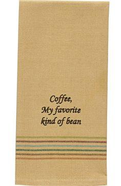 Coffee, My Favorite Kind of Bean Kitchen Hand Towel Dishtowel