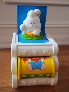 Vintage 1989 Fisher-Price Bunny-in-the-Box Infant Toy Musical Good Condition https://www.etsy.com/shop/AmeliaBabble