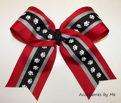 Red Black Cheer Bow 6 Inch Ribbon Arkansas Razorbacks Spirit Softball Volleyball