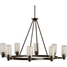 Kichler Circolo 8 Light 36  Wide Chandelier with Dual Cylindrical Shades - Olde Bronze