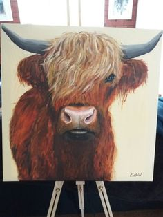 Highland cow painting 50cm by 50cm in acrylic.  Painted by Emily Willmott .  Can paint to order - inbox for details