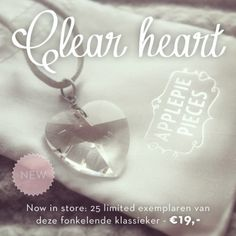 NEW: de limited Clear heart ketting  http://applepiepieces.com/shop/new/clear-heart-ketting.html