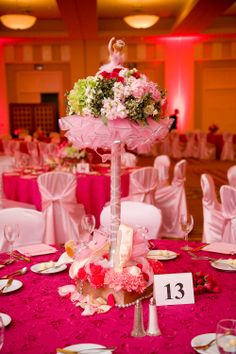 Ballerina party table decor with flowers. Light and hot pink.