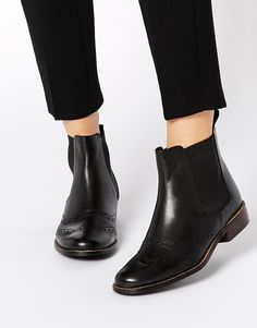 Dune Lynn Brogue Leather Chelsea Boots
