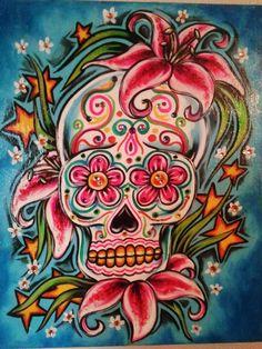 sugar skull paintings | Sugar Skull lilies by VanZanto