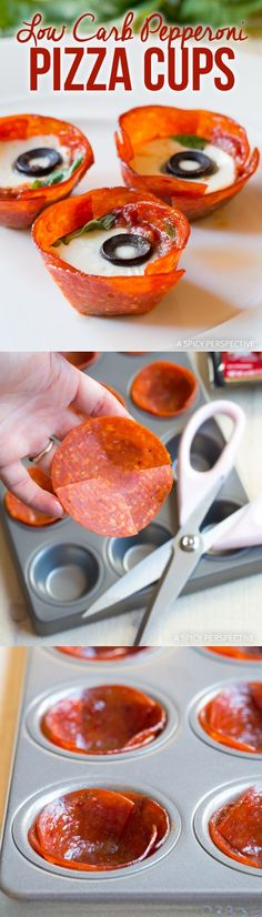Easy 5-Ingredient Low Carb Pepperoni Pizza Cups Recipe #paleo #superbowl via @spicyperspectiv