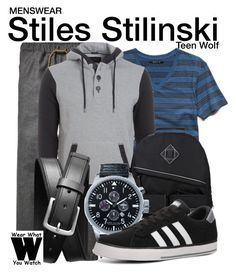 """""""Teen Wolf"""" by wearwhatyouwatch ❤ liked on Polyvore featuring 21 Men, Scotch & Soda, Armani Jeans, Banana Republic, Tommy Hilfiger, adidas, television, wearwhatyouwatch and menswear"""