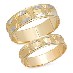 14K Solid White and Yellow Two Tone Gold His and Her's Matching Snowflake Design Wedding Band Ring Set (Choose a Size) ** For more information, visit image link. (This is an affiliate link) #WeddingandEngagement