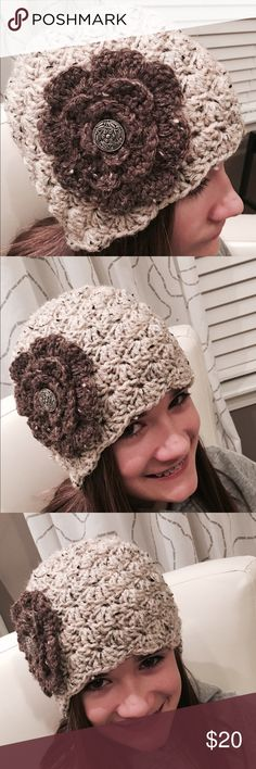 Textured Handmade Beanie Handmade brand new item. Made with complimentary natural colors accented by a vintage-look button. Accessories