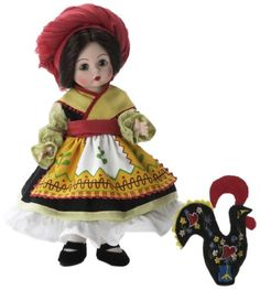 Wendy with beautiful green eyes and brunette hair styled in a bun wears a colorfully authentic costume. Her full skirted black dress with green striped sleeves and patterned binding is worn beneath an embroidered yellow apron trimmed with red ric rac. Authentic Costumes, Vintage Madame Alexander Dolls, John Wright, Folk Dance, New Dolls, Green Stripes, Doll Accessories, Vintage Dolls, Baby Toys