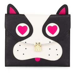 """Betsey Johnson Pug face bag! So adorable!!! Brand new BJ black, pug face clutch/bag.  Flap top with padlock detail and snap closure.  Satin lining.  Interior zip and two slide pockets.  Vegan leather.  9""""H X 11""""W X 0.3""""D.  A total statement piece! Betsey Johnson Bags"""
