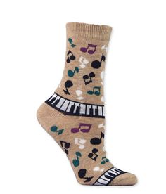 Camel Musical Notes and Keyboard Socks (Women's)