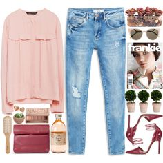 shades of pink by doga1 on Polyvore featuring Zara, MANGO, Topshop, Fendi, Urban Decay, Philip Kingsley and John-Richard