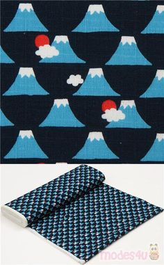 "navy blue dobby fabric with small blue mountains, clouds, red suns, Material: 100% cotton, Fabric Type: strong dobby fabric, Pattern Repeat: ca. 7.5cm (3"") #Dobby #Mountains #JapaneseFabrics Kawaii, Picnic Blanket, Outdoor Blanket, Dobby Fabric, Echino, Red Sun, Japanese Fabric, Blue Mountain, Bleu Marine"