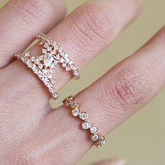 CZ Bezel Cluster Rose Gold Wedding Ring Sterling Silver from kellinsilver.com