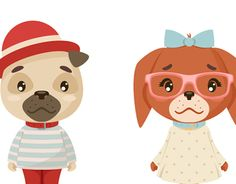 """Check out new work on my @Behance portfolio: """"Cute vector geek hipster puppies boy and girl"""" http://be.net/gallery/53570615/Cute-vector-geek-hipster-puppies-boy-and-girl"""