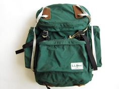 Vintage L.L.Bean green nylon backpack with leather accessories
