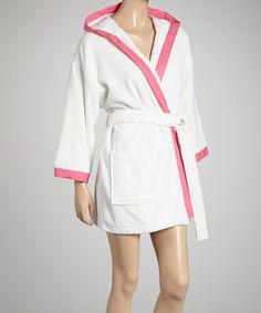 027ab2c9d9 Aegean Apparel White   Fuchsia Zero Twist Hooded Bathrobe - Women