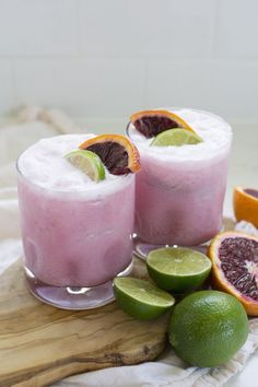 Pretty in pink coconut blood orange margaritas. How could we say no?