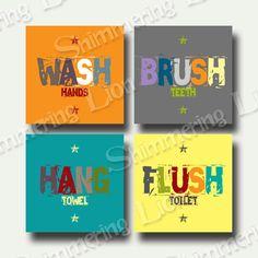 Kids Bathroom Bath Wash Brush Hang Flush Printable Wall Art DIY Yellow Colorful Customizable Quote Washroom Series Full Set