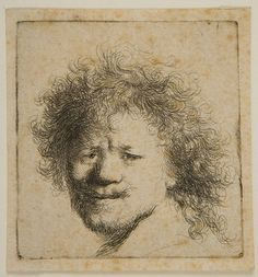 Rembrandt Harmensz van Rijn Dutch (Leiden 1606 - 1669 Amsterdam) Self-Portrait, with Frizzled Hair, Etching plate: 6.4 x 6 cm | Harvard Art Museums