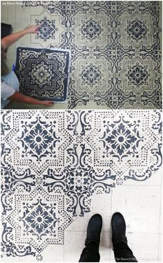 10 Stenciled Floor Makeovers and DIY Ideas Made For Walkin' - Floor Stencils by Royal Design Studio Tile Stencils, Stencils For Painting, Stencil Diy, Bathroom Stencil, Stenciling, Stencil Patterns, Floor Patterns, Stenciled Tile Floor, Floor Stencil