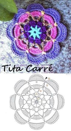 Free Mandala Crochet Patterns, Crochet Coaster Pattern, Crochet Circles, Granny Square Crochet Pattern, Crochet Chart, Crochet Squares, Crochet Designs, Crochet Stitches, Crochet Flower Tutorial