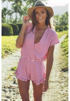 Your perfect preppy pink and white striped playsuit 2019 - summer apartments sunny beach summer beach background summer beach dress summer beach hats summer sunny beach - blue dress beaches - Summer Blue Dresses 2019 Spring Summer Fashion, Spring Outfits, Summer Beach Outfits, Summer Fun, Striped Playsuit, Ruffle Romper, White Romper, Street Style Outfits, Look At You