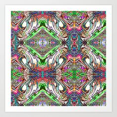 Neon Pinstripes 2 B Art Print by K Shayne Jacobson - $18.72
