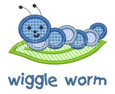 Wiggle Worm Caterpillar Applique Machine Embroidery Design Download blue green boy/girl baby insect bug. $3.50, via Etsy.