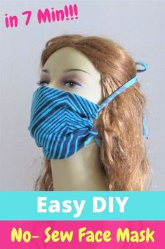 Learn how to make this no sew face mask with ties in just 7 minutes. This FREE DIY pattern comes with a free printable template and is easy for anyone with no crafting experience. All you need is a T-shirt and a pair of sharp scissors. #DIYfacemask, #nosewfacemask, #facemaskfreeprintable, #Homememadefacemask, #howtomakefacemask