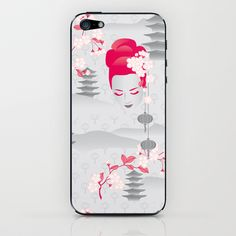Geisha Cherryblossom Design iPhone & iPod Skin by patterndesign Decorating Your Home, Gadgets, Iphone Cases, Presents, Patterns, Stylish, Ipod, Design, Products