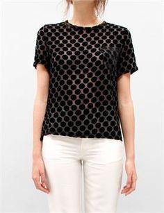 Creatures of Comfort, black velvet spot top, love it! $189