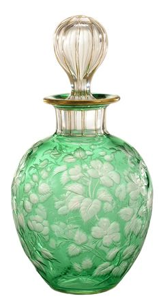 Perfume Bottle; Libbey Glass, Floral Motif, Engraved Emerald Green to Clear, Stopper, 7 inch. Year: 1895 - 1905