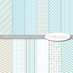 Digital Scrapbooking Paper    Gridley Sea Glass Light by Moo and Puppy