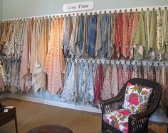Top online fabric stores by Kirsten. I like this idea for displaying reminants. Could I do this???!!!