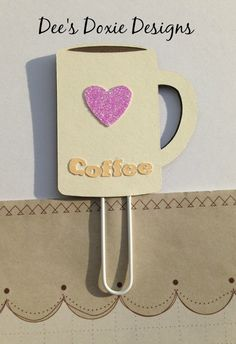 Pink Heart Coffee Cup Clip Coffee Cup by DeesDoxieDesigns on Etsy