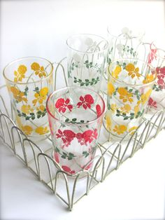 1950s Floral Drinking Glasses Vintage glasses