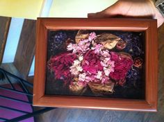 1st Anniversary gift from husband!  He took my wedding bouquet, which I had dried (but was ready to throw away, what do you do with dead flowers!)  and styled them in a shadow box! BEST PRESENT EVER! Great idea for wedding bouquet!