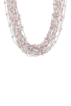5-5.5mm Pink Freshwater Pearl 18-Row Cord Necklace