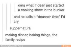 Dean finally unleashing his inner dork and launching a cooking show from the bunker Supernatural Bloopers, Supernatural Tumblr, Supernatural Tattoo, Supernatural Wallpaper, Supernatural Destiel, Supernatural Jewelry, Supernatural Imagines, Decimo Doctor, Mother Nature Tattoos
