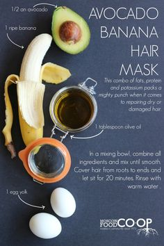 Check out this simple recipe for an Avocado Banana Hair Mask. Get those locks nice and shiny! hair mask for damaged hair products Olive Oil Hair Mask, Argan Oil Hair Mask, Hydrating Hair Mask, Hair Mask For Damaged Hair, Hair Mask For Growth, Diy Hair Mask, Hair Masks, Diy Mask, Banana Hair Mask