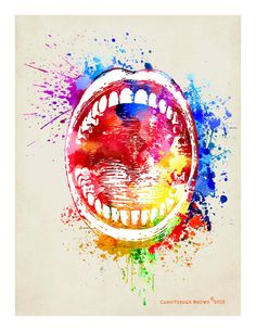 Arte impresión Acuarela boca8.5x 11 Dental Dental por ArtOfThePage