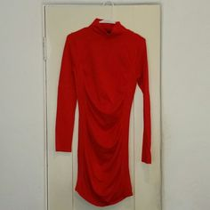 """FLASH SALE Express red cotton dress Sweater like with """"tummy control""""  wore once for xmas.  Mid leg height.  Make me an offer i cant refuse and it is yours Express Dresses Mini"""