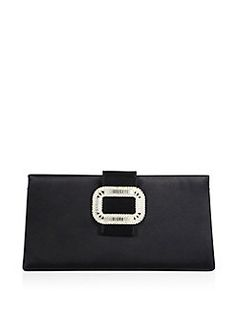 Roger Vivier - Tiffany Crystal-Buckle Satin Clutch
